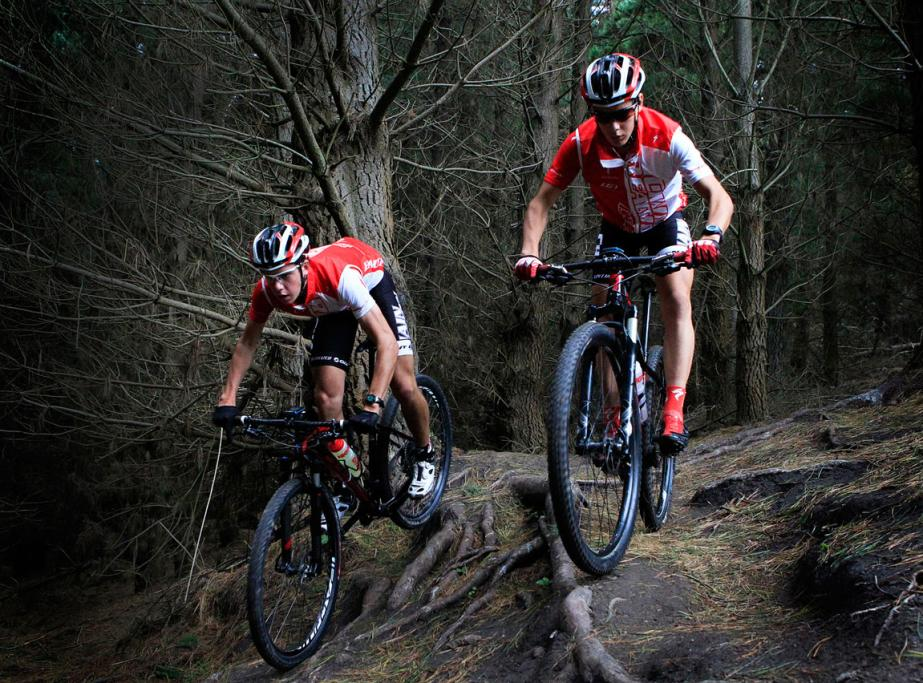 Craig (R) and Ben Oliver competing in the Oceania Mountain Bike Championships at Mt Hutt.
