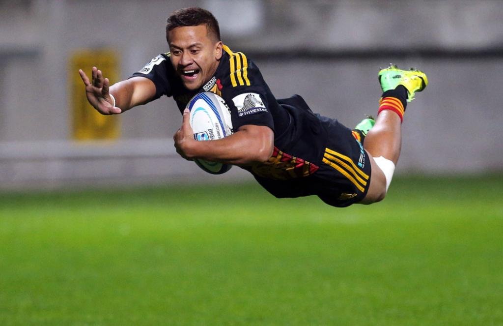 Tim Nanai-Williams dives in to score a try during the Waikato Chiefs v Auckland Blues at Yarrow Stadium, New Plymouth.