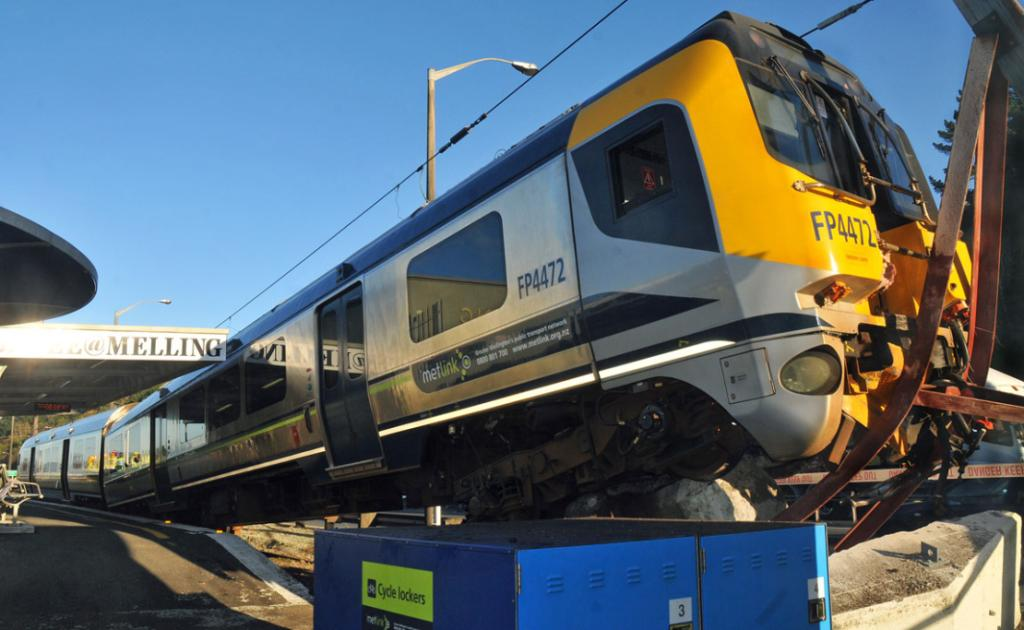 A train failed to stop and launched up the concrete buffer at Melling Station, Lower Hutt.