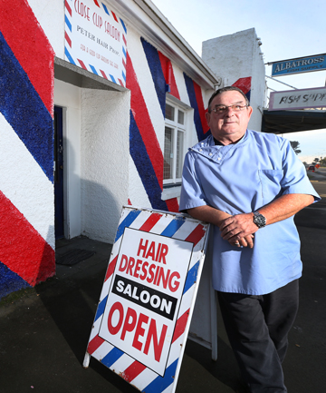 HAIR TODAY: Long-time Invercargill barber Peter Hair has sold his shop and is off on semi-retirement.
