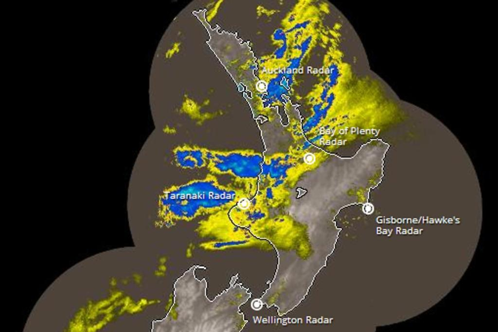 A MetService rain radar image from 7.43am shows heavy falls over Auckland and the southern Waikato.