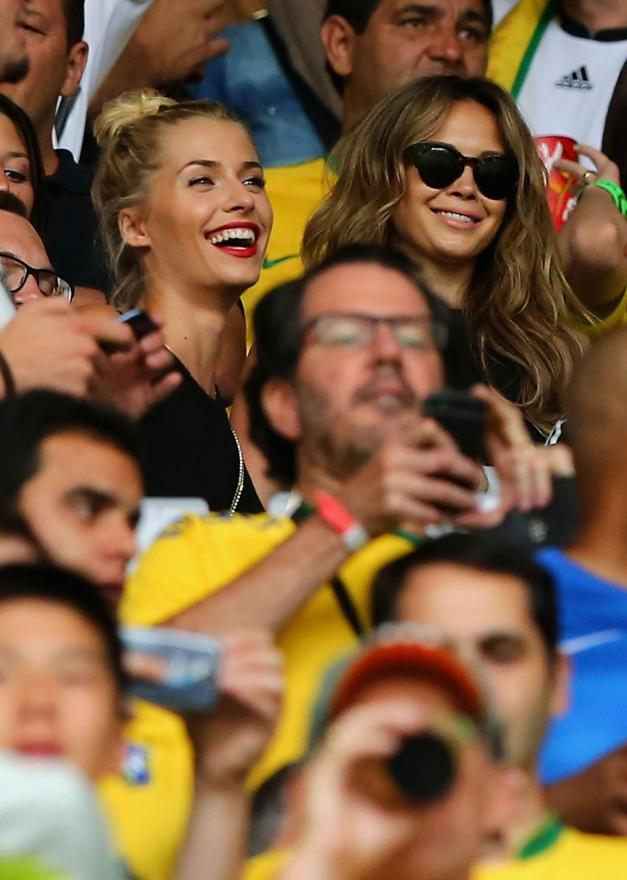 German player girlfriends Lena Gercke and Mandy Capristo amongst the 62,000 fans at Estadio Mineirao.