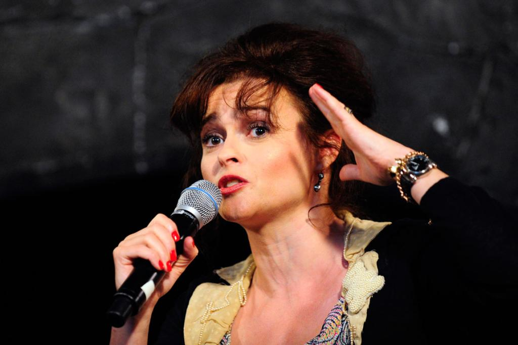 Actress Helena Bonham Carter speaks during a media preview of The Wizarding World of Harry Potter-Diagon Alley.