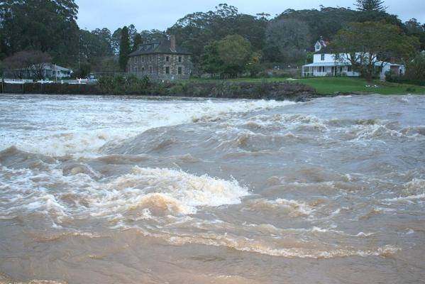 The Stone Store Basin at 7.30am after some 90mm of rain fell during the night.