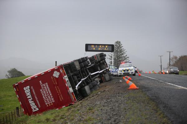 Truck blown over in wind