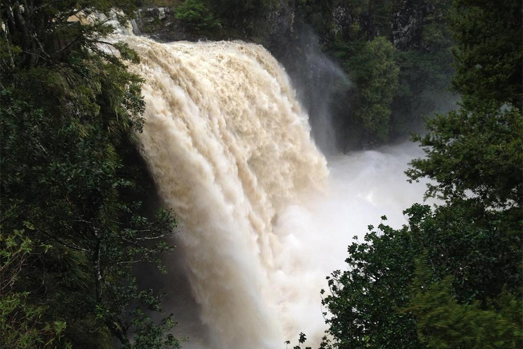 Whangarei Falls in full fury following more than 100mm of rain overnight in its Tikipunga-Glenbervie catchment area.