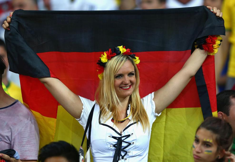 Germany fans wave their colours with pride at Estadio Mineirao.
