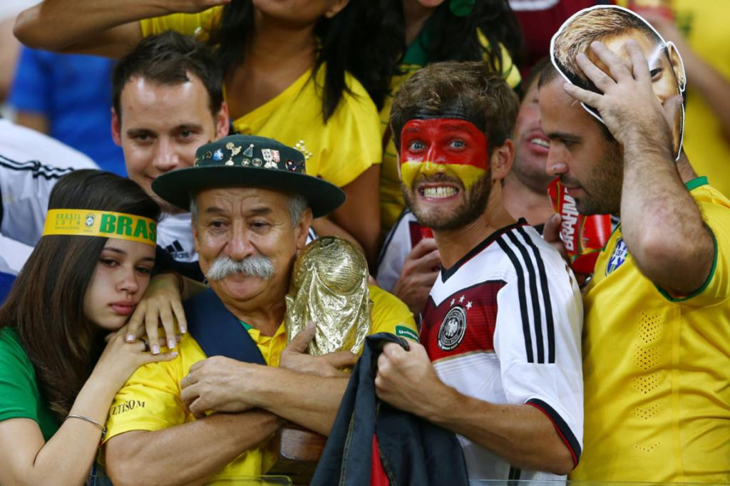 There were cheeky looks in the crowd from Germany fans as Brazilians looked for solace.