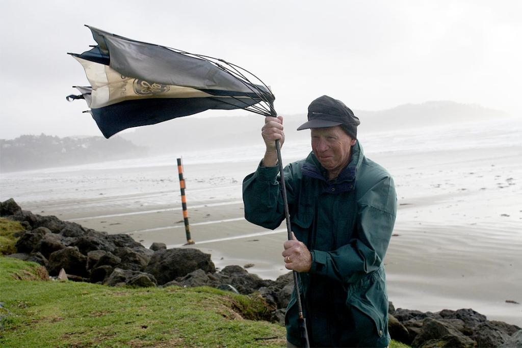 Even the weather didn't stop Wynn Shergold from his morning walk in Orewa, north Auckland.