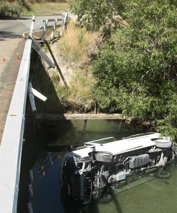 Van crashed off Nokomai Bridge