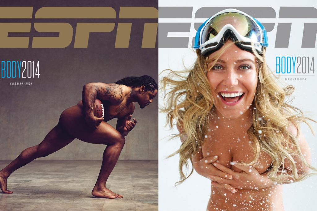 "FIT TO BE NUDE: Super Bowl champion Marshawn Lynch, a running back for the Seattle Seahawks, says ""I'm cool with my body, I love my body. I wouldn't trade it for no other body"", while Olympic gold-medal-winning snowboarder Jamie Anderson names her ""freakin' booty"" as her 'favourite' asset."