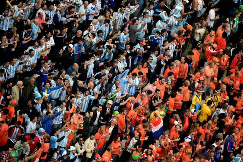 Fans packed in row on row at Corinthians to watch Argentina play Netherlands for a place in the World Cup final.