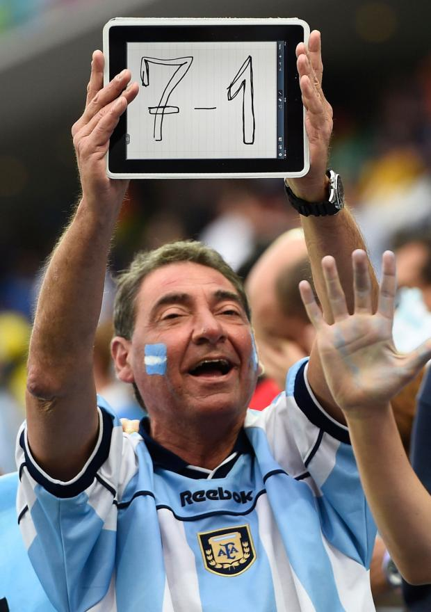 This Argentina fan hoped for a 7-1 double after Germany sunk Brazil by that scoreline yesterday.