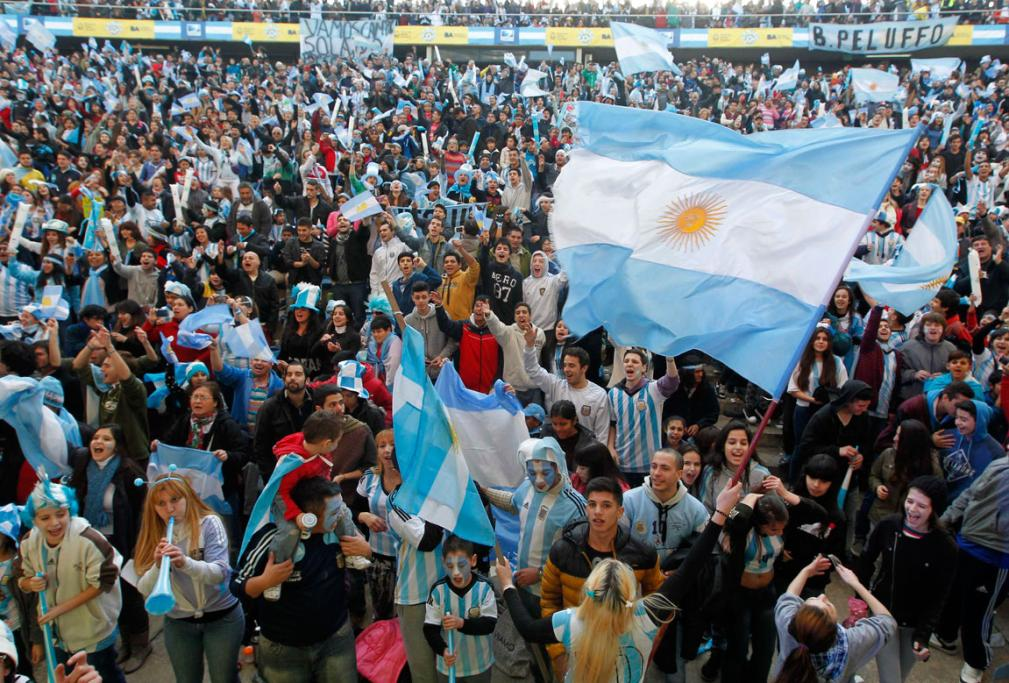 Thousands of fans gathered in downtown Buenos Aires to watch the semifinal on big screens.
