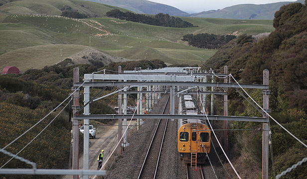 On the track to nowhere:  A commuter train bides its time on the Kapiti line between between Plimmerton and Pukerua Bay. Photo: CAMERON BURNELL/FAIRFAX NZ