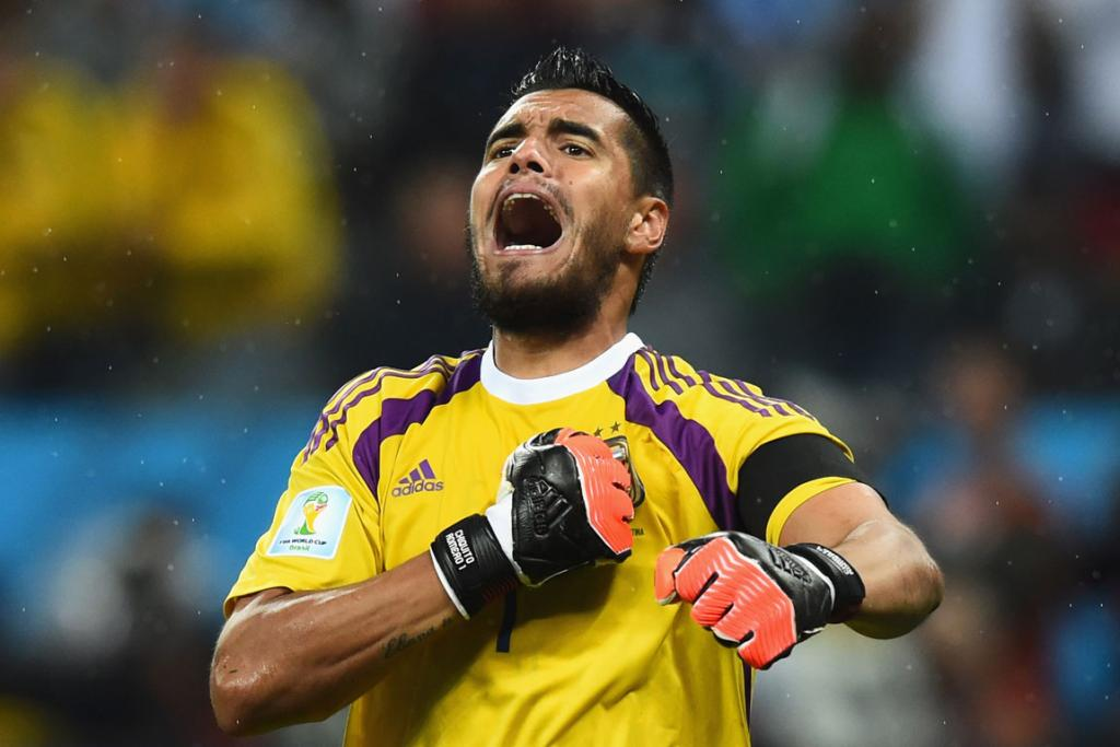 Argentina goalkeeper Sergio Romero celebrates their win. He saved two of the Netherlands' four penalty shots.