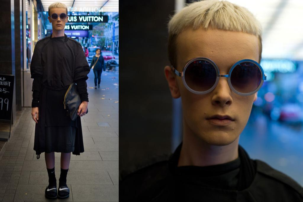 Liam, spotted on Queen St in Auckland, works black layers and pool slides in a way only a select few can.