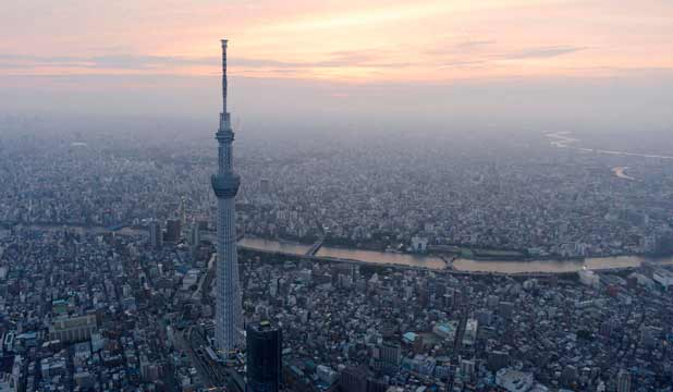 SKY HIGH: At 634 metres the world's tallest tower, Skytree, dwarfs the city of Tokyo.