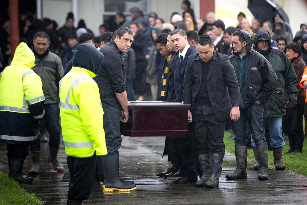 Friends and family gather at the Otamatea marae in the Kaipara Harbour to mourn the passing of Jordan Kemp, who died after an accident on the rugby field in Whangarei last week.