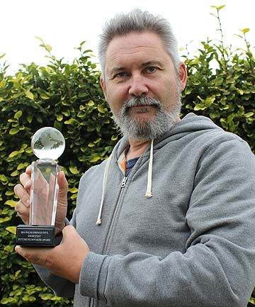 SPECIAL AWARD: Grey Lynn director Steve Saussey with his Jury Future Filmmaker Award from the Palm Springs International ShortFest.