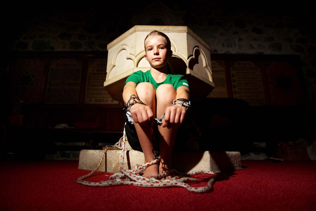 Katy Allen (12) chained herself up for the 40 hour famine.