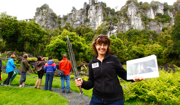 UNEXPECTED VISITORS: The cliffs on the Denize family farm feature in the first Hobbit film, An Unexpected Journey. Suzie Denize, pictured, has started a location tour company to show visitors around the film site near Piopio. bb