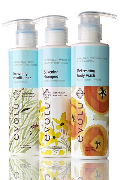 Evolu Silkening Shampoo, Enriching Conditioner and Refreshing Body Wash