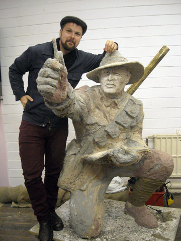 HONOURING A HERO: Artist Matt Gauldie with his preparatory model for a bronze statue of acclaimed Gallipoli soldier and artist Horace Moore-Jones.
