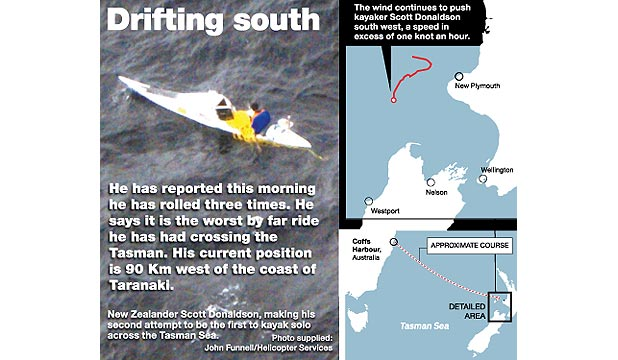 OFF COURSE: Kayaker Scott Donaldson has been drifting southwest.