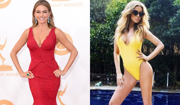 HOT TO TROT: Both Sofia Vergara and Carmen Electra are more than happy to show off their 42-year-old assets.