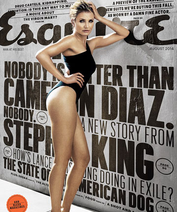 COVER STAR: 42-year-old Cameron Diaz covers the August issue of Esquire magazine.