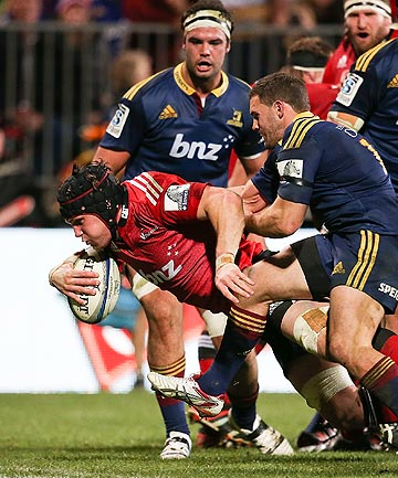 TRY TIME: Crusaders flanker Matt Todd goes over for one of his two tries against the Highlanders.