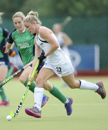 IN CONTROL: Anita Punt, right, is challenged by Ireland's Nicola Daly during the Black Sticks' 9-2 win in Dublin.