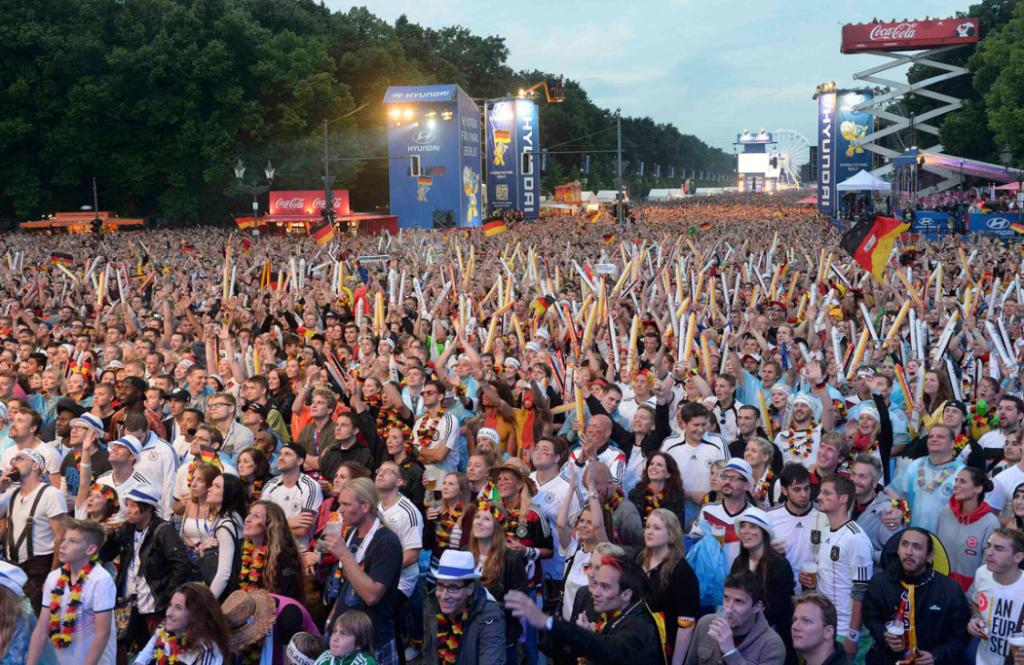 Tens of thousands of people have gathered near the Brandenburg Gate in Berlin to watch the final on a big screen.