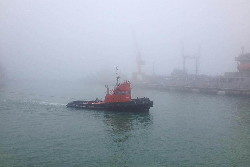 Fog hangs over Auckland harbour, causing problems for ferries.