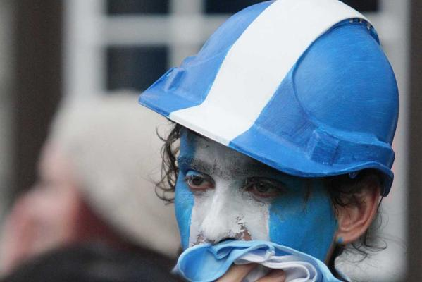 Face painted Argentinian fans