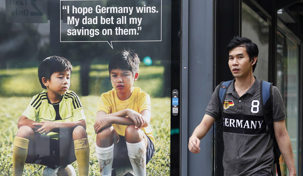 Singapore gambling advert during World Cup