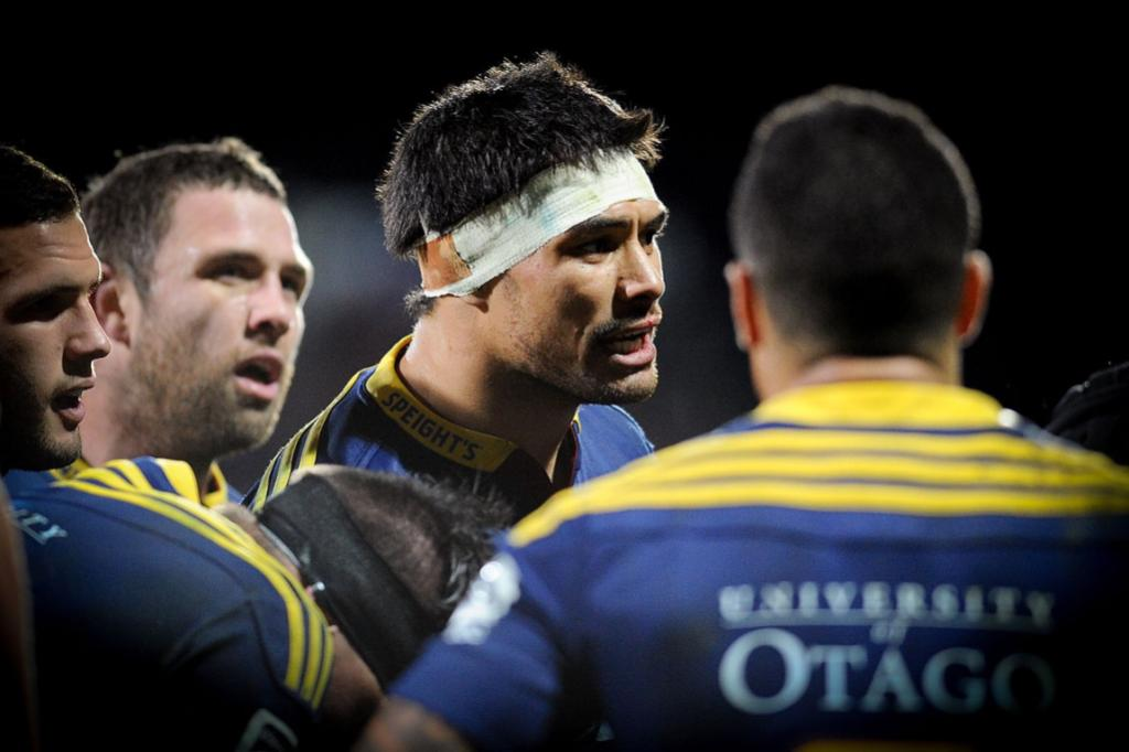 Shane Christie encourages his Highlanders teammates in their round 19 Super Rugby match against the Crusaders.