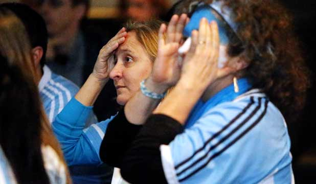 ARGH: Argentinian supporters Isabel Parodi and Martha Desimone react after the Germans scored.