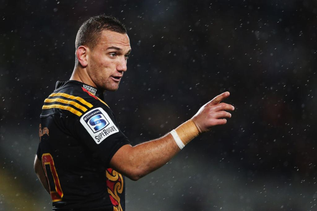 Chiefs first five Aaron Cruden barks orders at his team during their Super Rugby match against the Blues at Eden Park.