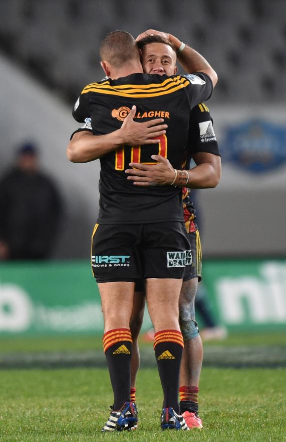 Chiefs players Aaron Cruden and Tim Nanai-Williams share their joy at making it to the Super Rugby playoffs after beating the Blues at Eden Park.