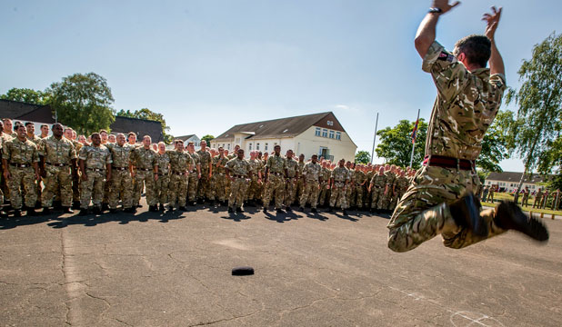 FAREWELL: Lieutenant Colonel Steve Davies performing his solo haka. The video has been shared over 15,000 times.