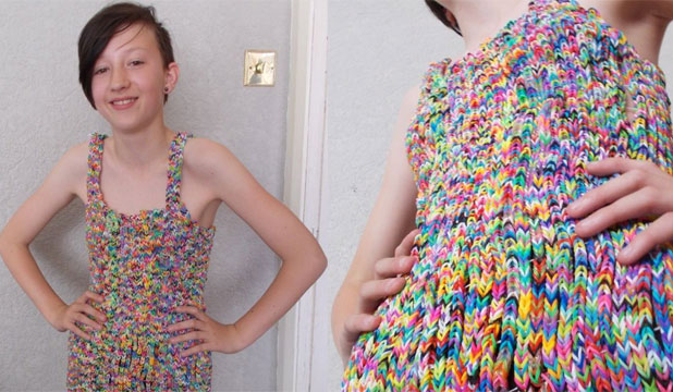 FASHION STATEMENT: The rainbow loom craze is getting a tad on the expensive side with this dress listed on eBay about to sell for over $300k.