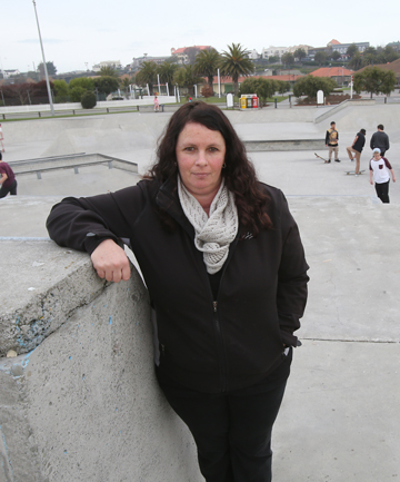 AT A STAND-STILL: Paula Thompson wants to see sun shades placed over part of the grass area by the Caroline Bay skatepark.