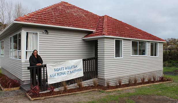 PILOT HOUSE: Ngati Whatua Nga Rima o Kaipara Trust housing project leader Kiri Powell in front of the retrofitted Helensville home.