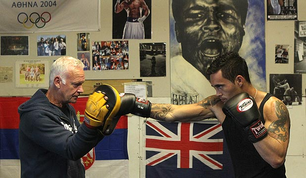 SWANSONG: Christchurch-based West Coast boxer Bowyn Morgan, right, trains with New Zealand coach Phil Shatford before the Commonwealth Games. Morgan hopes to sign off his long amateur career with a medal.