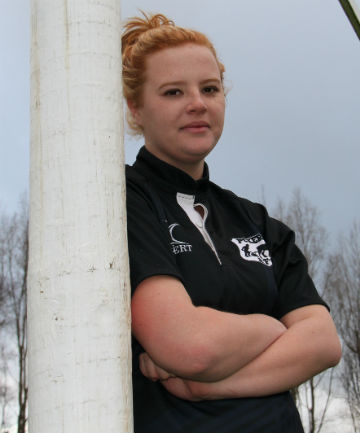 MIXING IT: April Miller, 18, has been playing rugby for the Pukerau men's team this season.