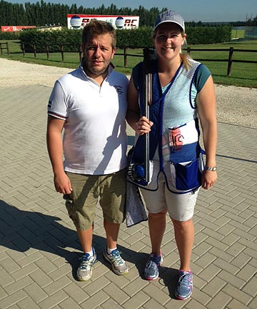 ON TARGET: Timaru's Commonwealth Games clay target shooter Natalie Rooney with her Italian coach Andrea Miotto. Rooney has spent the past month building up for Glasgow in Italy.