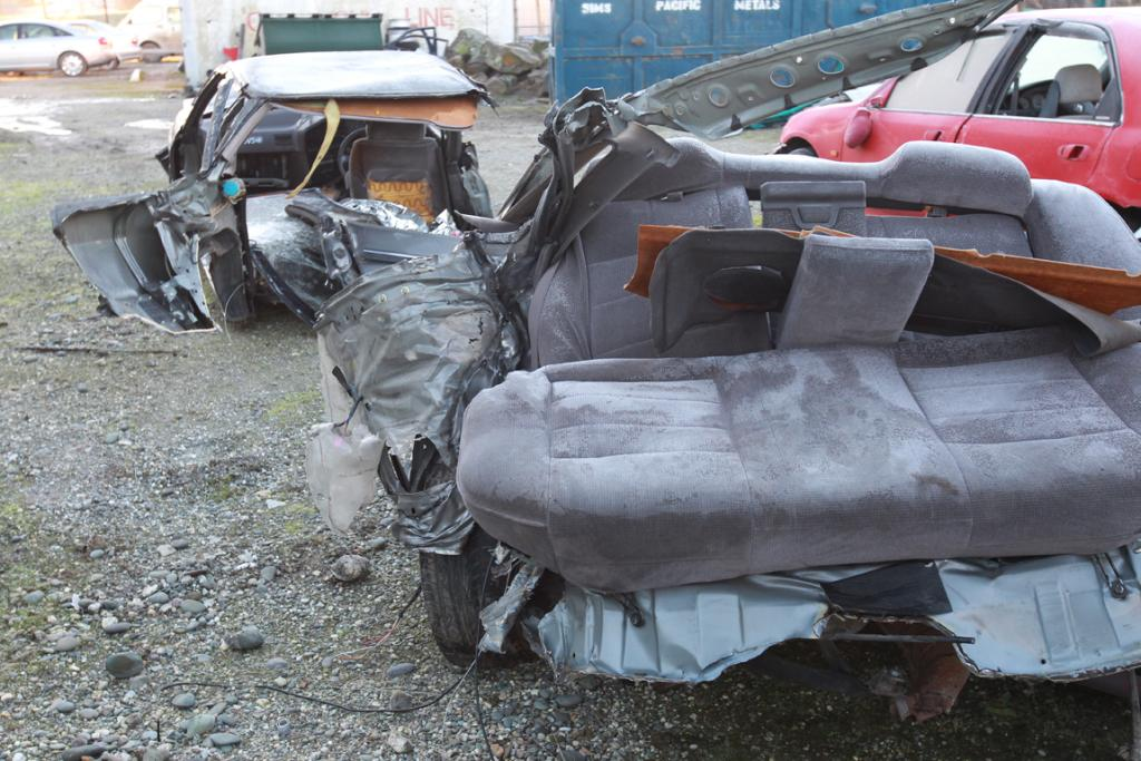BACK HALF: The back half of the car that split in two after hitting a tree north of Mataura this morning.