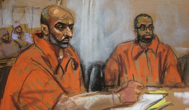JAILED: Babar Ahmad and Syed Talha Ahsan appear in US District Court in New Haven, Connecticut, as seen in this courtroom sketch.